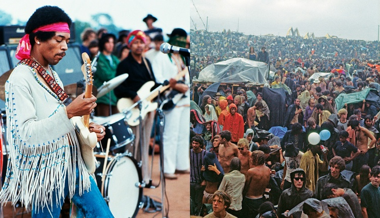 Jimi Hendrix and a crowd at Woodstock standing in the rain